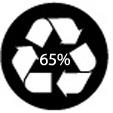 anneau de Moebius avec la mention « 65% »=le produit est composé d'au moins 65% de matières recyclées.