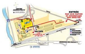 plan d'accès au salon BIONAZUR - Nice