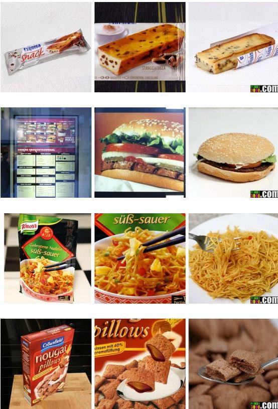 photos des emballages de produits alimentaires